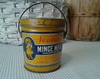 """Original Antique """"Veribest Mince Meat"""" Tin Bucket Armour and Company"""
