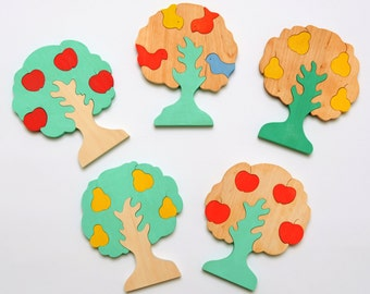 Wooden Puzzle trees ( birds, apples or pears) Wooden puzzle for childrens