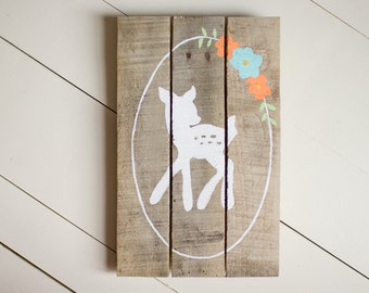 Fawn, Deer Wood Sign, Pallet Sign, Reclaimed Wood