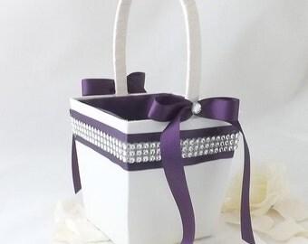 Glitzy Satin Flower Girl Wedding Petal Basket