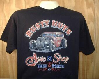 Rusty Nuts Auto Shop Hot Rod Rat Rod Car T-shirt 100% Cotton  S-XXXL