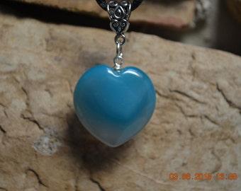 Blue Madagascar Agate Heart Pendant Necklace