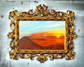 Framework, Oil Painting, sea, ocean, horizon, sunset, rock, mountain, twilight
