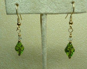 Pretty green and gold earrings