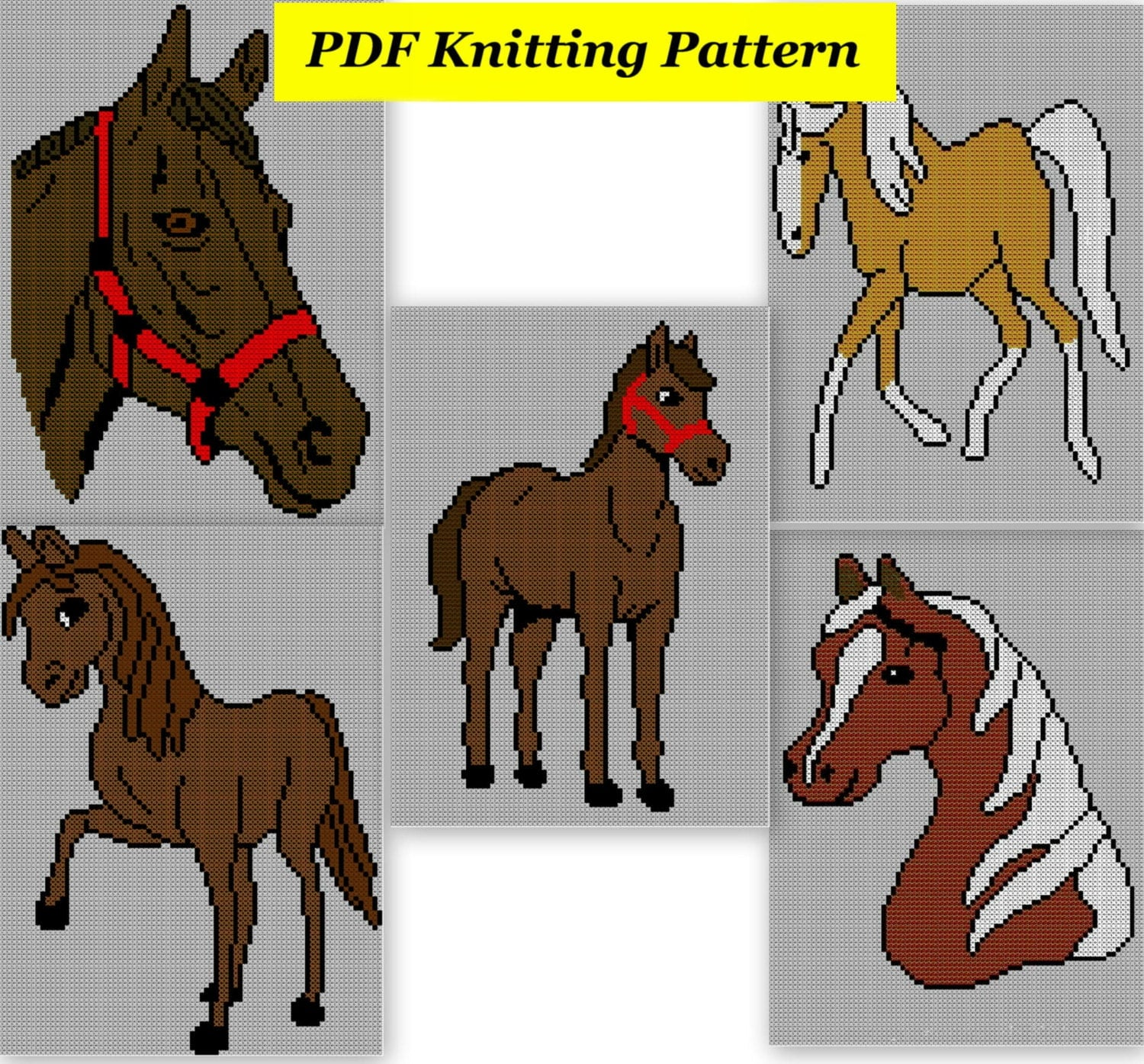 5xChildrens & Adults Horse Jumper / Sweater Knitting Patterns PDF Insta...