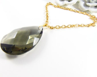 Gold plated necklace with giant Muranoglas brown pendant, Kollektion the Four Seasons Design Catia Levy