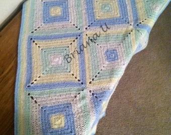 Handmade Crochet Baby Blocks Baby Blanket