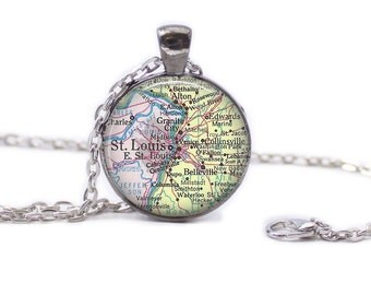 St. Louis Map Pendant Map Necklace St. Louis Map Jewelry