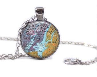 Jersey City Map Pendant Map Necklace Jersey City Map Jewelry