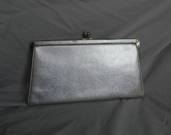 1960's Pretty Gold Vinyl Evening Bag Formal Clutch Purse Handbag by Andi
