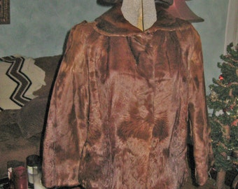 Vintage 1950's brown light weight fur jacket with matching brown tam size 7-8