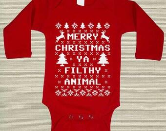Baby Long Sleeve Bodysuit Creeper Red Merry Christmas Ya