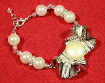 Deco Silver and Pearl Bracelet