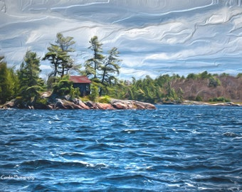 Fine Art Print of Matthew's Bay in Pointe-au-Baril, Canada. A rugged landscape scultped by time, water and wind.