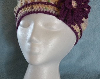 Puff Stitch Crochet Beret with a Flower