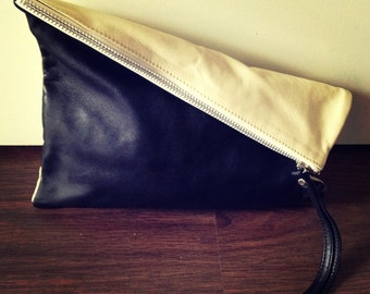Soft leather clutch bag purse. iPad sleeve with wrist strap. Soft leather clutch purse, foldover bag, lined.  Womens leather clutch bag