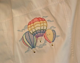 Liz Claiborne White Cotton Jacket with Hot Air Balloons Soaring in the Sky