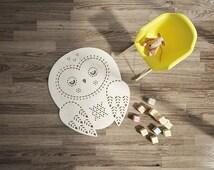 Playroom Rug / Owl Rug / Nursery Rug / Wool Felt rug / Nursery Decor / Cream carpet / Kids Room Rug