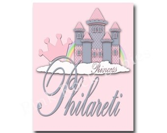 Custom baby girl name art nursery princess castle wall art nursery typography nursery wall art baby girl room art for baby girl room decor