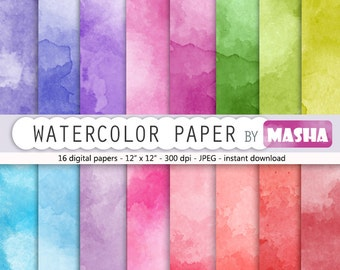 "Watercolor digital paper: ""WATERCOLOR PAPER"" with rainbow watercolor digital paper suitable for scrapbooking, invitations, cardmaking"