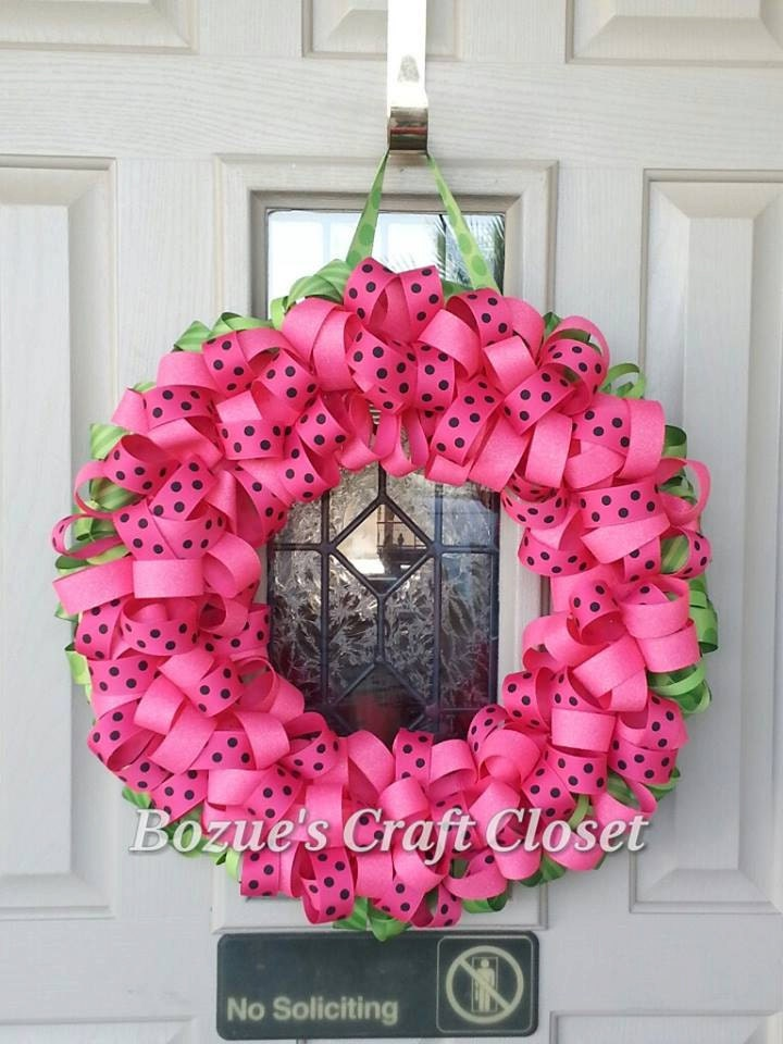 Watermelon Ribbon Wreath, Summer Wreath, Watermelon Decor, Summer Decor, Watermelon wreath, fruit decor, fruit wreath