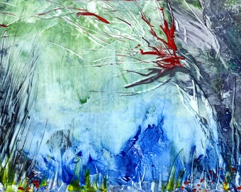encaustic art  fantasy underwater scape, great for backing paper or as a picture.