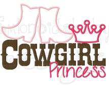 Cowgirl PrincessMachine Applique Embroidery Design, Cowboy Boots Applique, Cowgirl Boots Applique, 5x7, Country Girl Embroidery Design