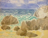 Watercolor Art, Beach Sce...