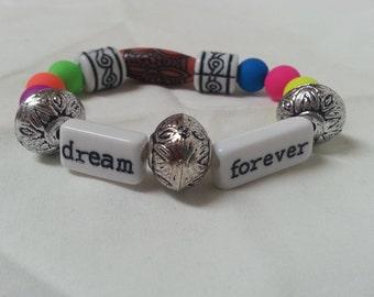 Cute Little Saying multicolor beaded bracelet