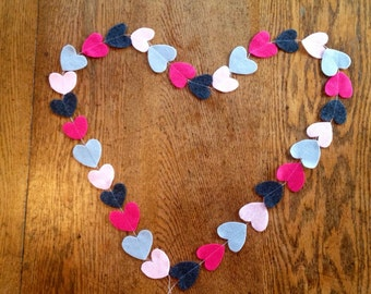 Heart garland, felt heart garland, valentine's day garland, wedding backdrop heart garland