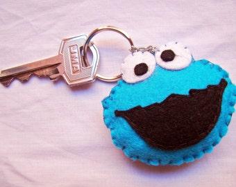 Felt cookie monster keychain Sesame Street