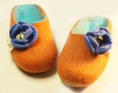 Children slippers, felted slippers, felt slippers, wool slippers -  Violets