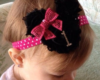 Minnie Mouse first birthday headband, hot pink or red Minnie Mouse birthday headband