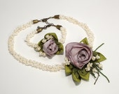 Wedding pearls set with silk and crochet flowers, lilac silk flowers, white crochet flowers, pale green, high quality, unique