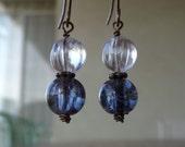 White Melon Japaneese Glass & Dark Blue Cracked Czech Glass Bronze Earrings