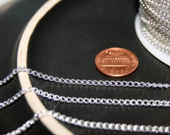 10ft silver chain, nickel free chains,silver kette,silver iron chains,silver plated chains,Silver Iron twist chain,3.5x2.5x0.7mm