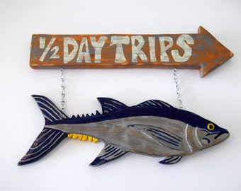 Hand carved fishing sign