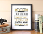 "Isaiah 40-31 Scripture Print Men's Bible Wall Art Typography Print ""Mount up on wings like eagles...."" Isaiah 40:31"