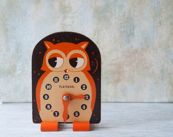 Playskool Owl Clock Toy Wooden 1960s Orange, Brown and Beige, VIntage Educational Toy Tell Time, Vintage Nursery Decor, Owl Decor