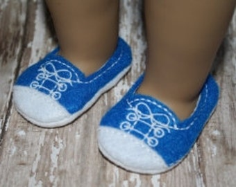 24 Hour Sale Price!!!   18 inch Doll White Toe Sneakers made In The Hoop Machine Embroidery Design for 18inch Dolls