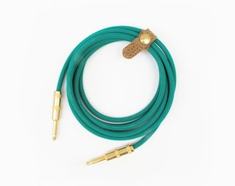 Green Garden Hose 9.5' Cable Axis Guitar Instrument Cable Handmade Lead Cord Mogami