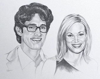 CUSTOM ONLY - Pencil Portrait of a couple drawn from your favorite photograph.