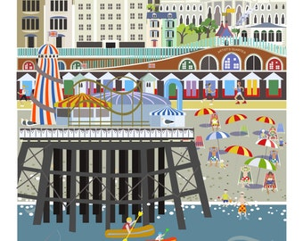 Brighton Rocks print -  Signed, titled & mounted limited edition print