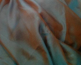 Brown-Teal Iridescent Silk Chiffon - 6 3/8 yards