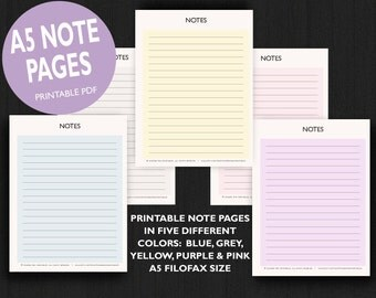 A5 Filofax Printable Note Paper, A5 Printable Inserts in 5 color styles, A5 Printable Planner, a5 Filofax inserts, Filofax a5 Printable page