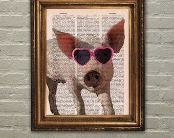 Dictionary Print: Pig with Glasses, Pig Print, Pig Art, Wall Decor, Recycled Dictionary Paper ZRP8103