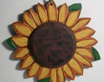 Vintage Wooden Yellow Sunflower Hand Painted Wall Hanging Decoration Plaque