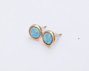 gold earrings,blue opal earrings,opal earrings,stud earrings, white opal, post earrings with opal stone,gold filled earrings,dainty earrings