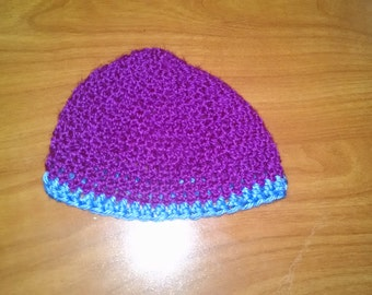 Purple crocheted toddler hat