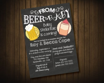 From Beer to Baby, Couples Baby Shower Invite